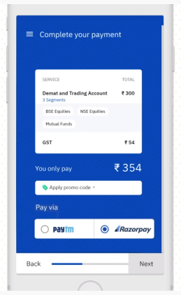 Upstox payment through Razorpay and paytm